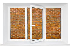 Pvc window with brick wall inside Royalty Free Stock Image