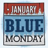 Chilled Loose-leaf Calendar for Blue Monday, Vector Illustration. Loose-leaf calendar ragged showing a blue sign with the responsible for the unhappy and sadness royalty free illustration