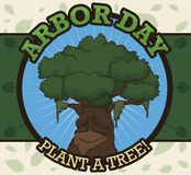 Ancient Tree in a Commemorative Button to Celebrate Arbor Day, Vector Illustration. Round button with an ancient tree over a label decorated with shovels and vector illustration