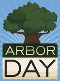Tree with Calendar to Celebrate Arbor Day, Vector Illustration. Ancient tree over a loose-leaf calendar made with recycled paper to celebrate Arbor Day stock illustration
