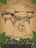 Hand Drawn Tree over Wood and Leaves for Arbor Day, Vector Illustration. Beautiful design of a ancient tree carved in wood with some leaves around it promoting vector illustration