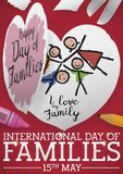 Cute Childish Craft to Celebrate International Day of Families, Vector Illustration. Cute childish handcraft: paper in heart shape painted with crayons and stock illustration