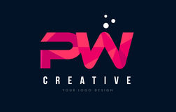 PW P W Letter Logo with Purple Low Poly Pink Triangles Concept Royalty Free Stock Photos
