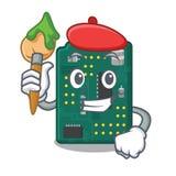 PWB de la placa de circuito del artista aislado con la mascota stock de ilustración