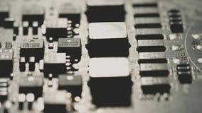 PWB do computador ou macro da placa de circuito impresso Câmera disparada ou vermelha video estoque