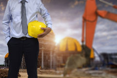 PWork safety at construction site concept . Work safety at construction site concept Stock Images