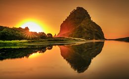 Last light at Piha royalty free stock photos