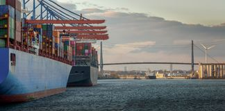 Panorama of a container terminal in the port of hamburg stock image