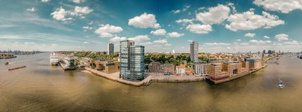 Large Panorama of Hamburg near the fish market in the best weather.  royalty free stock images