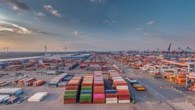 Container terminal in the port of Hamburg in good weather stock photo