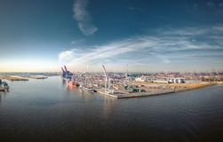 Aerialview on Harbor from Hamburg royalty free stock images
