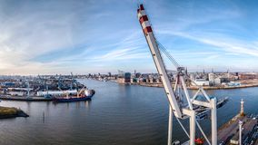 Aerial view from the Harbor of Hamburg with Elbphilharmony royalty free stock photos