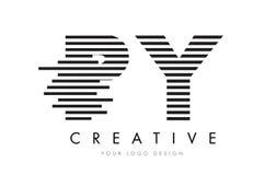 PY P Y Gestreepte Brief Logo Design met Zwart-witte Strepen Royalty-vrije Stock Afbeelding