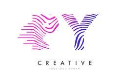 PY P Y Gestreepte Lijnenbrief Logo Design met Magenta Kleuren Stock Foto