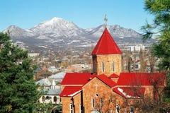 Pyatigorsk.Armenian church. Armenian Church adainst a background mountains Beshtau Royalty Free Stock Image