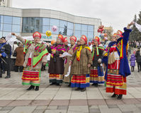 Pyatigorsk. Pancake Day Celebration. The folklore ensemble. Seeing winter in Pyatigorsk royalty free stock image