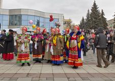 Pyatigorsk. Pancake Day Celebration. The folklore ensemble. Seeing winter in Pyatigorsk royalty free stock images
