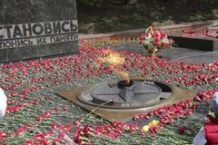 PYATIGORSK, RÚSSIA - 9 DE MAIO DE 2014: Dia da vitória em WWII Flores Imagem de Stock Royalty Free