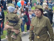 PYATIGORSK ROSJA, MAJ, - 09, 2017: Kobiety ubierać w wojskowych uniformach Obraz Royalty Free