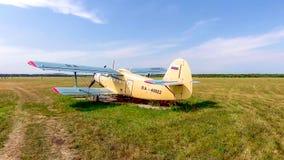 PYATIGORSK, RUSSIA - July 08, 2018: Airplanes antonov An-2 parked on field before airshow. PYATIGORSK, RUSSIA - July 08, 2018: Airplanes antonov An-2 parked on a stock image
