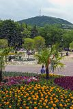 Park `Flower-garden` in Pyatigorsk. PYATIGORSK, RUSSIA - JUNE 04,2019: Park `Flower-garden` - one of the most beautiful and favorite places of the resort of stock photo