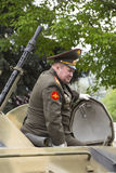 PYATIGORSK, RUSSIA - MAY 9 2014: The colonel on the armored pers Royalty Free Stock Photography