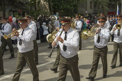 PYATIGORSK, RUSSIA - MAY 9 2014: Marching military orchestra clo Stock Photography