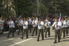 PYATIGORSK, RUSSIA - MAY 9 2014: Marching military orchestra on Stock Photos