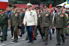 Participants in the column of the Victory Day parade in Pyatigorsk, Russia Royalty Free Stock Image