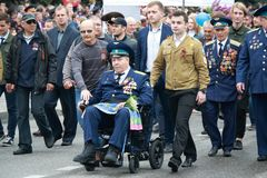 Pilots of the Air Force. Victory Day in Pyatigorsk, Russia Stock Photo