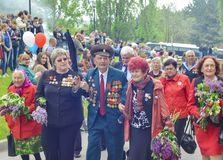PYATIGORSK, RUSSIA - MAY 09, 2017: Veterans with medals. The Victory Day celebration royalty free stock photography