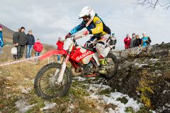 PYATIGORSK, RUSSIA - NOVEMBER 26, 2017: Motorcycle. The decisive race. The North Caucasus Cup on moto trial. One of the. Participants of the competition is royalty free stock photo