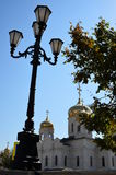 Pyatigorsk - Russia's jewel. Another 19-th century lantern stands just opposite  Spassky Russian Orthodox church Cathedral Stock Image