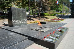 Pyatigorsk- Russia's jewel. The  Eternal   Flame  is permanently glowing  in memory of the fallen heroes at the memorial site.  The site is constructed as  a Stock Image