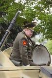 PYATIGORSK, RUSSLAND - 9. MAI 2014: Der Oberst auf den gepanzerten pers Lizenzfreie Stockfotografie