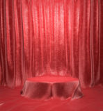 Pyatistal covered with red cloth passing. On the wall background 3d illustrations Stock Photos