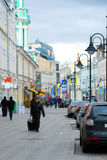 Pyatnitskaya street with car parking in Moscow Royalty Free Stock Images