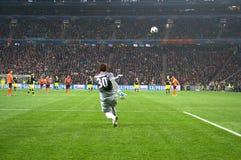 Pyatov in actie in de gelijke van het Champions League Stock Fotografie