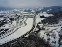 Pyeong Chang 2018 Winter Olympic Ski Jump Center. 2018 Winter Olympic Ski Jump Center Pyoeng Chang Korea taken on 28.12.2016 Royalty Free Stock Photo