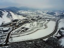 Pyeong Chang 2018 Winter Olympic Ski Jump Center. 2018 Winter Olympic Ski Jump Center Pyoeng Chang Korea taken on 28.12.2016 Royalty Free Stock Photography