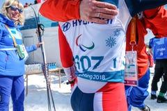 Pyeongchang 2018 centro do Biathlon do 14 de março - em S através dos campos foto de stock royalty free
