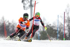 PyeongChang 2018 March 18th . Women`s Slalom. Winter paralympic royalty free stock photo