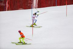 PyeongChang 2018 18 mars Course 1 de slalom du ` s de femmes images libres de droits