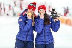 PyeongChang 2018 mars 18th Medalj för slalom för kvinna` s guld- - PASSFORM arkivfoto