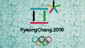 Pyeongchang ponto da tevê de 2018 olympics de inverno Qualidade da transmissão video estoque