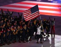 American Olympic team marched into the PyeongChang 2018 Olympics opening ceremony at Olympic  Stadium in PyeomgChang. PYEONGCHANG, SOUTH KOREA – FEBRUARY 9 Royalty Free Stock Photo