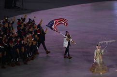 American Olympic team marched into the PyeongChang 2018 Olympics opening ceremony at Olympic  Stadium in PyeomgChang. PYEONGCHANG, SOUTH KOREA – FEBRUARY 9 Royalty Free Stock Photos