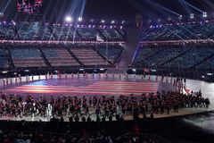 American Olympic team marched into the PyeongChang 2018 Olympics opening ceremony at Olympic  Stadium in PyeomgChang. PYEONGCHANG, SOUTH KOREA – FEBRUARY 9 Stock Images