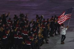 American Olympic team marched into the PyeongChang 2018 Olympics opening ceremony at Olympic  Stadium in PyeomgChang. PYEONGCHANG, SOUTH KOREA – FEBRUARY 9 Stock Image
