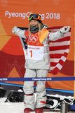 Olympic champion Chloe Kim celebrates victory in the women`s snowboard halfpipe final at the 2018 Winter Olympics. PYEONGCHANG, SOUTH KOREA – FEBRUARY 13, 2018 Stock Photos